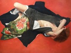 KIMONO FLOWER, women lying down, red background, black and white robe, nude