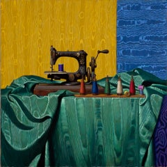 ANTIQUE SEWING MACHINE AND MOIRE, yellow nad blue background, hyper-realist