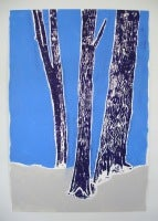 Woodblock no.1 Blue on Blue, Gray