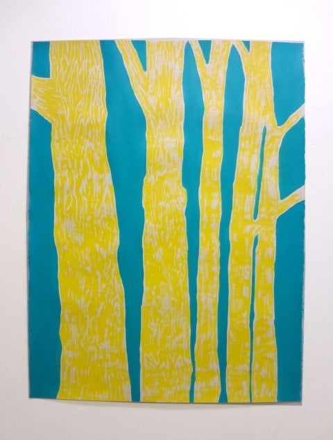 Woodblock no. 2 (Yellow Trees on Blue)