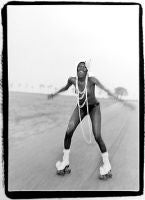 Grace Jones at Compo Beach, 1973