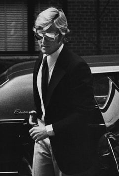 Robert Redford arriving at Mary Lasker's apartment, New York