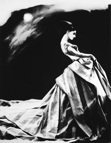 Lillian Bassman Black and White Photograph - Night Bloom, Anneliese Seubert, Paris, The New York Times Magazine