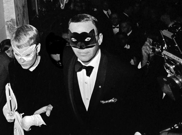 Frank Sinatra and Mia Farrow at Truman Capote Black and White Ball - Photograph by Harry Benson