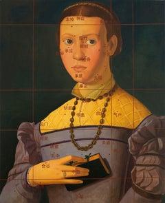 Fille Avec le Livre - classical baroque portrait, chinese characters, oil paint