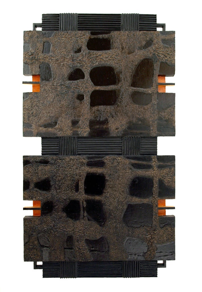 Black Lantern - orange, brown, black, abstract, three dimensional wall sculpture