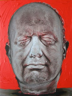 Self (Red) - Contemporary, Hand coloured pigment print by Marc Quinn