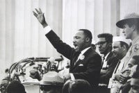 "King Ends His Speech with the Words of the Old Negro Spiritual, ""Free at Last! Free at Last! Thank God Almighty, We Are Free at"