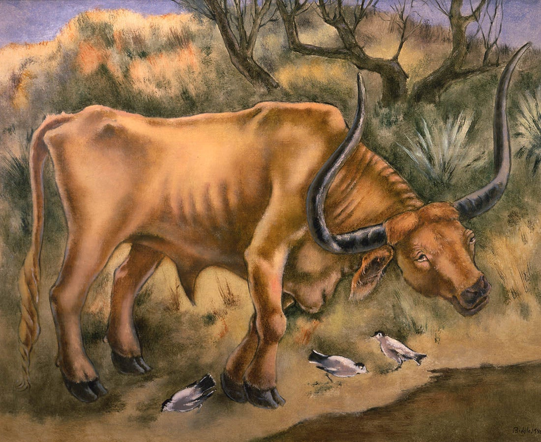 George Biddle Texas Longhorn Painting At 1stdibs