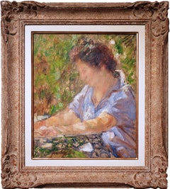 Woman Reading. Portrait in a Garden. French Post-impressionist Painting.