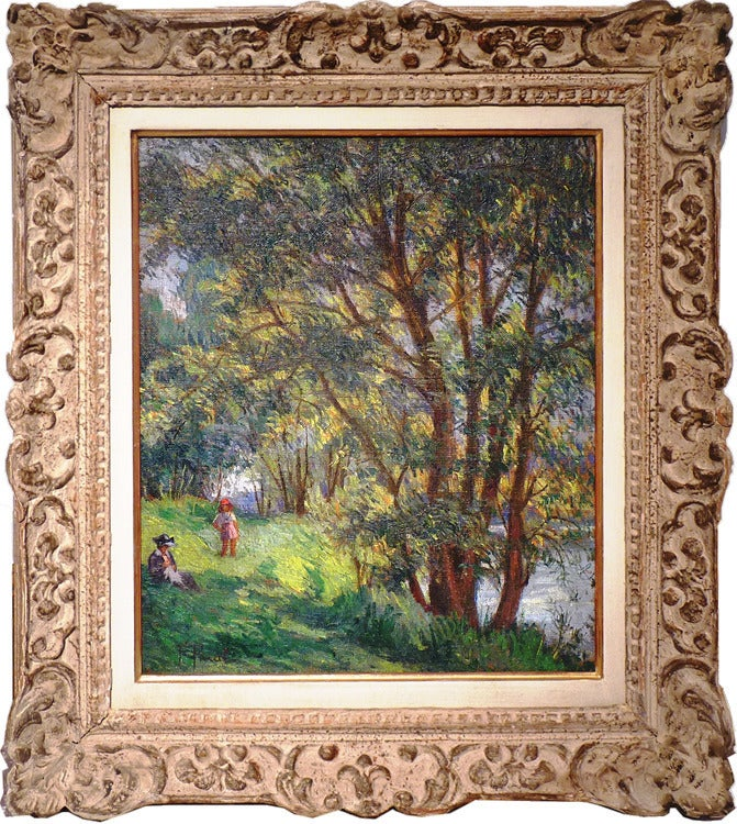 Leisure at river Marne near Meaux, by french post-impressionist artist Pinal