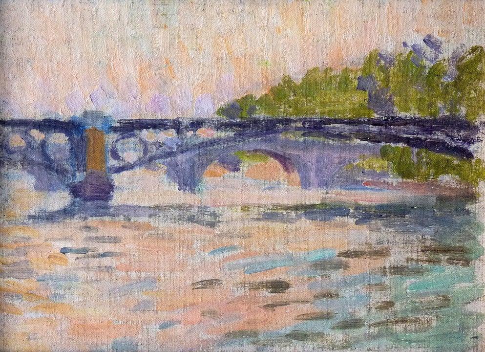 Bridges of Paris / Ponts du Paris. By Neo-impressionist artist Louis Hayet. - Post-Impressionist Painting by Louis Hayet