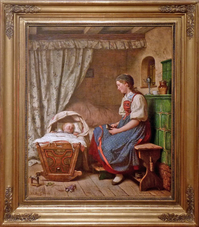 Mother with infant. German academic Romanticism genre painting by Julius Geertz