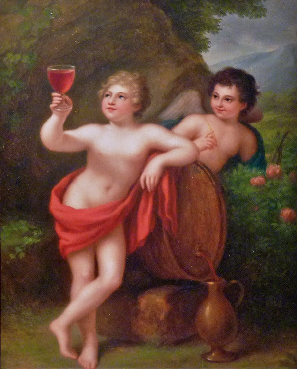 Bacchus and Cupid. Neoclassicist genre painting of academic art. - Painting by Traugott Lebrecht Pochmann