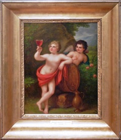 Bacchus and Cupid. Neoclassicist genre painting of academic art.