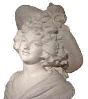 Bust of a Woman wearing a Hat. Belle epoque marble sculpture