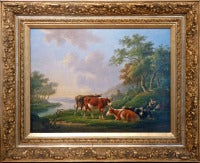 Rural landscape with peasant figures and cattle at a river