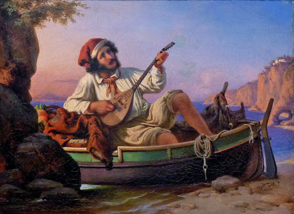 Neapolitan musician. German academic Romanticism genre painting - Painting by Wilhelm Nerenz