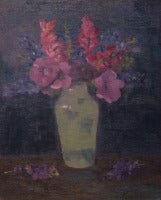 Hollyhocks and Larkspur in a Vase