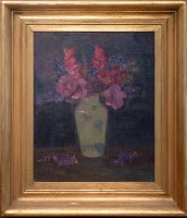 Hollyhocks and Larkspur in a Vase, by german artist Oskar Keller