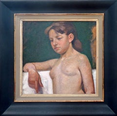 Young nude. Danish impressionist oil painting.