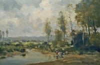 River landscape with washerwoman. Dutch oil painting of the Haarlem art school