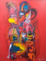 Abstract Composition with Red