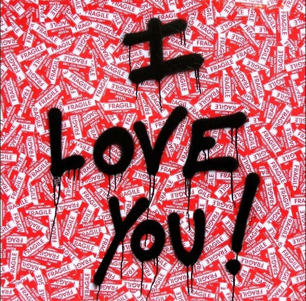Mr brainwash i love you at 1stdibs for Mural painted by street artist mr brainwash