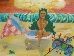 Figural Seascape oil, 'After the Hydrogen Bomb', New York Outsider woman artist