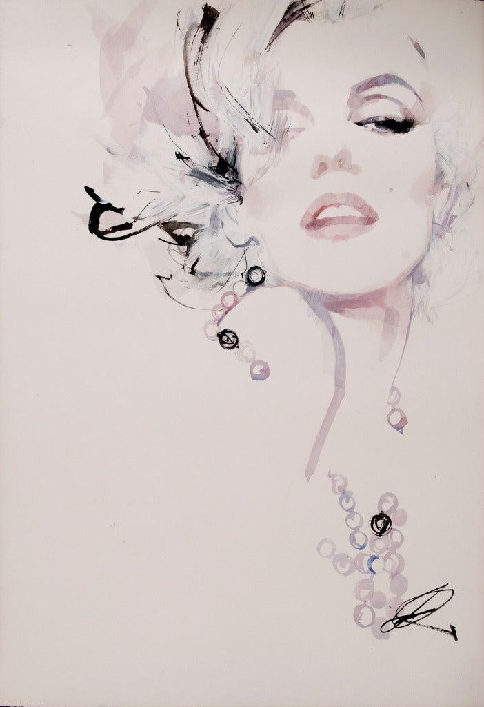 Line Drawing With Watercolor : David downton marilyn monroe at stdibs