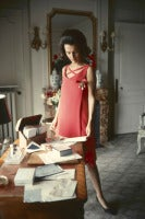 Mark Shaw - Dior, Lee Radziwill, Red Dress at Desk