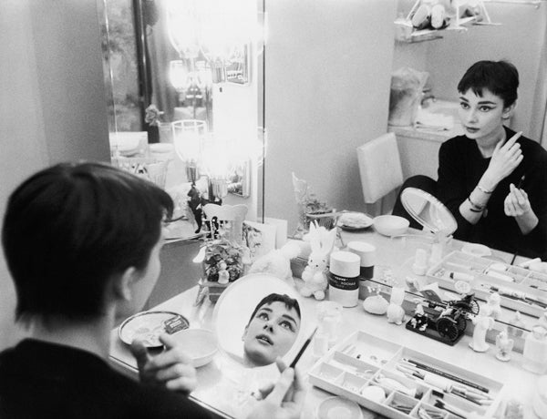 Mark Shaw Black and White Photograph - Audrey Hepburn Backstage at Ondine