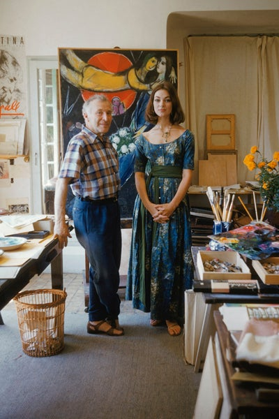 Mark Shaw - Marc Chagall in His Studio With Model Wearing ... Chagall Model