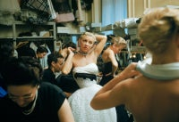 Backstage at Balmain, Blonde in Choker