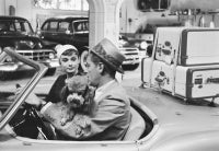 Audrey Hepburn And Costar William Holden Driving On The Set of Sabrina