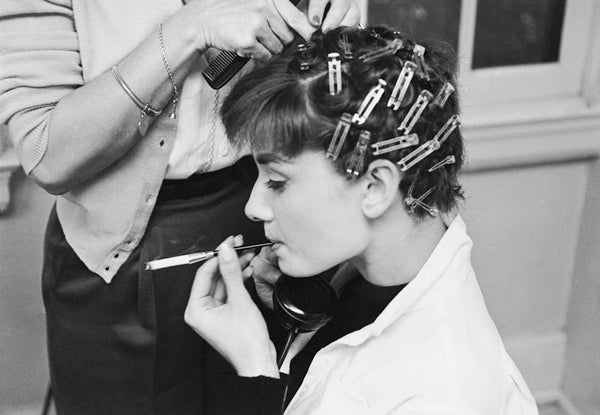 Audrey Hepburn Getting Her Hair Curled