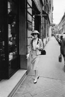 Coco Chanel approaches Her Shop on the Rue du Faubourg St. Honore in Paris