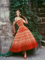 Dior Red Dress with Lavish Gold Embroidery