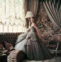 Sophie Malgat in Gray Chiffon Dior in Dior's Paris Home