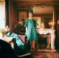 Teal Dior Gown in Gold Room
