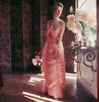 Viky Reynaud in Chiffon Dress With Dahlias