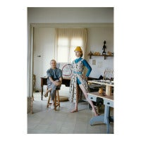 Joan Miro With Model Margaret Philipps in His Studio