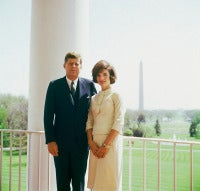 JFK and Jacqueline Kennedy on the Balcony of the White House