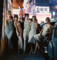 Mod Girls in Sequined Dresses at Night, Paris, 1961