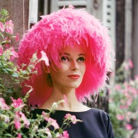 Mod Girl in Pink Marabou Hat