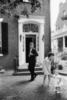 The Kennedy's Outside Their Georgetown Home