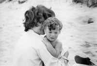 Jacqueline and Caroline Kennedy on the beach in Hyannis Port