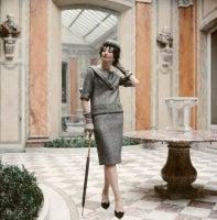Jacqueline de Ribes in Gray Dior Suit, 1959