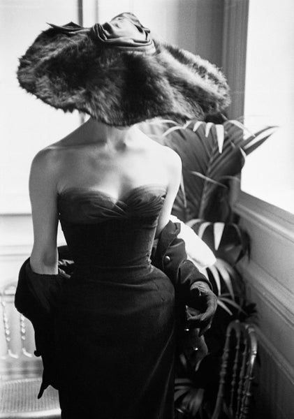 Mark Shaw Black and White Photograph - Dior Gown with Fur Hat, Paris