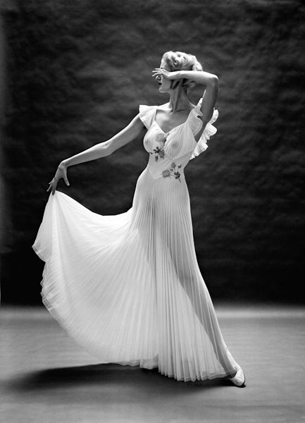 Mark Shaw Black and White Photograph - Vanity Fair Pleated Floral Bodice, New York, ca. 1950